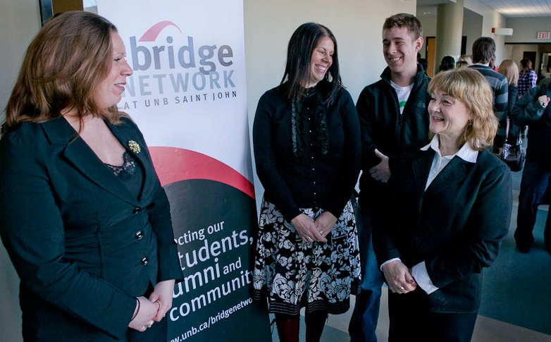 Dianna Barton with students while attending a Bridge Network at UNB